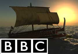 Greek Trireme Documentary designed with 3D ANIMATION and 3D MODELING and RIG and RENDER and SIMULATION and TEXTURING and COMPOSITION for BBC Picture 1